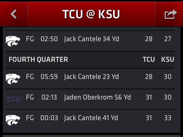 TCU vs KSU Kicking
